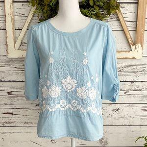 Boden Light Blue Cotton Pullover Floral Top SZ 6